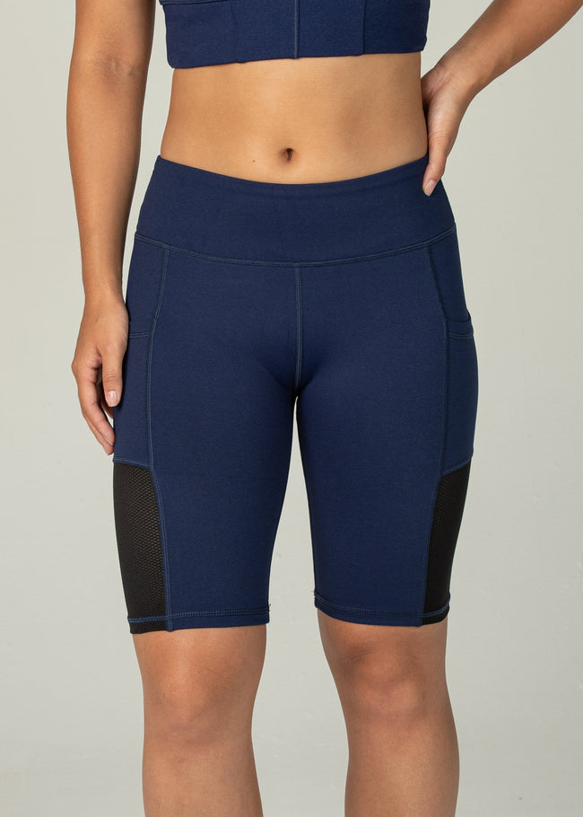 Essential Biker Shorts - Sweat Industry Apparel Indigo Front