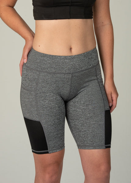 Essential Biker Shorts - Sweat Industry Apparel Salt and Pepper Front