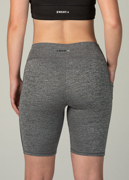 Essential Biker Shorts - Sweat Industry Apparel Salt and Pepper Back