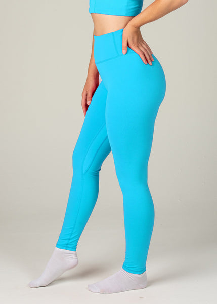 Essential Leggings - Sweat Industry Apparel Cyan Side