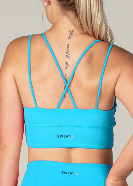 Essential Sports Bra - Sweat Industry Apparel Cyan Back