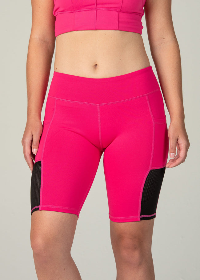 Essential Biker Shorts - Sweat Industry Apparel Hot Pink Front