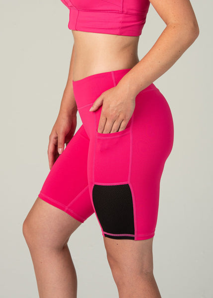 Essential Biker Shorts - Sweat Industry Apparel Hot Pink Side