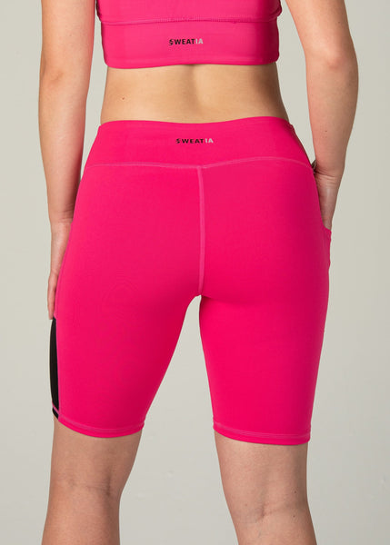 Essential Biker Shorts - Sweat Industry Apparel Hot Pink Back