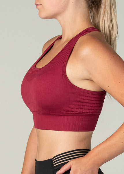 Vanquish Seamless Sports Bra - Sweat Industry Apparel Crimson Side