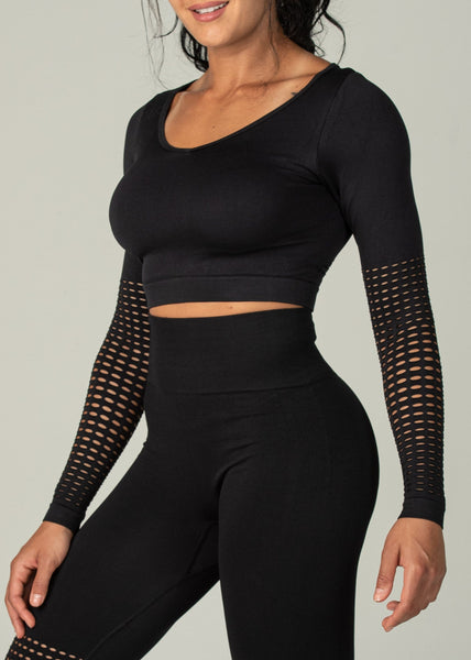 Seamless Conquest Top - Sweat Industry Apparel Black Side