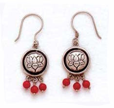 Lotus Flower w/ Bead Earrings