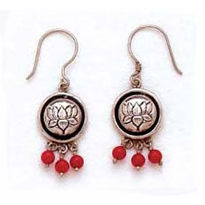 Lotus Flower & Bead Earrings