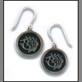 Engraved Om Earrings