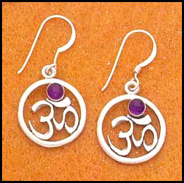 Om Earrings with Amethyst