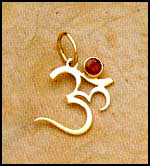 Gold Plated Om Pendant with Ruby
