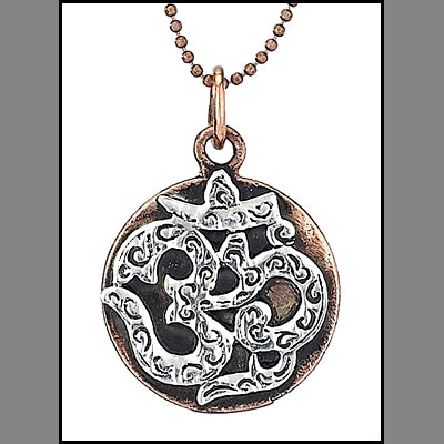 Silver Om on Round Copper Pendant