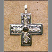Garnet Cross w/ Leaves Pendant