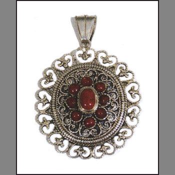 Tibetan Pendant with Coral