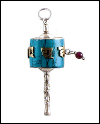Turquoise Prayer Wheel Pendant