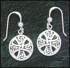 Emerald Round Cross Earrings