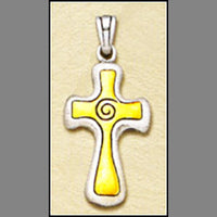 Gold Spiral Cross Pendant