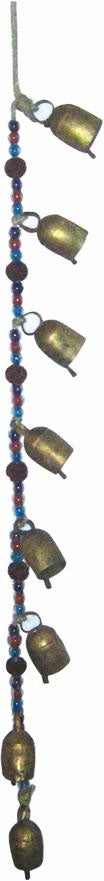 Dome Top 8 Tin Bells on a Cord with Beads