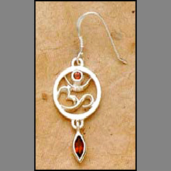 Om Earrings with Garnet