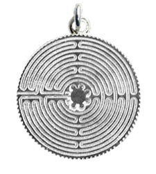 Labyrinth Flower of Life Pendant - Sterling Silver