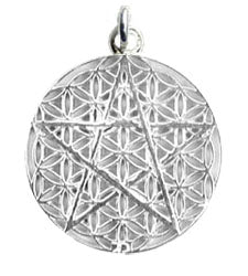 Pentagram Flower of Life Pendant - Sterling Silver