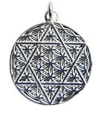 Star of David Flower of Life Pendant - Sterling Silver