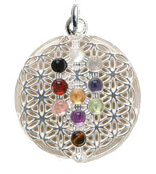 Tree of Life  w/ 10 Cabochons Pendant - Sterling Silver