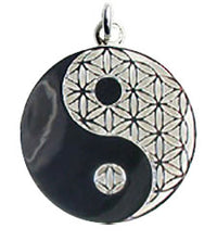 Yin Yang Flower of Life Pendant - Sterling Silver