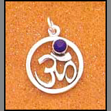 Om Pendant with Amethyst