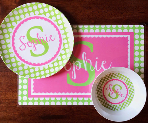 Plate, Bowl and Placemat Set - Custom Dish Set Personalized