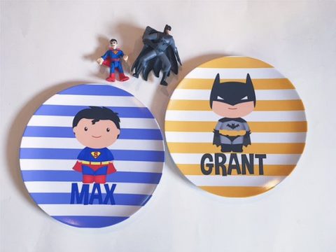 Personalized Kid's Plate - Custom Sueprhero Dish