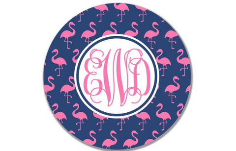 Personalized Kid's Plate - Custom Pink Flamingo Dish