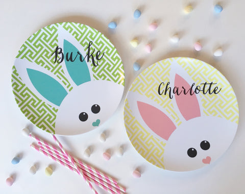 Personalized Kid's Plate - Custom Melamine Easter Bunny Dish