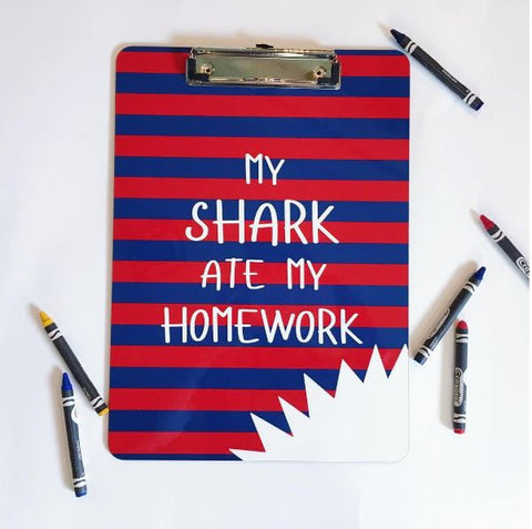 Personalized Kid's Clipboard - Custom My Shark Ate My Homework