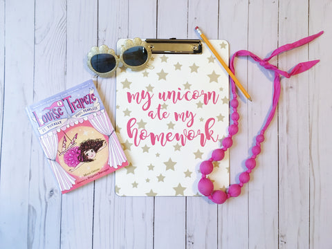 Personalized Kid's Clipboard - Custom My Unicorn Ate My Homework