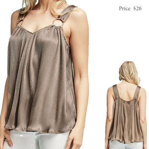silky pleated ring strap tank