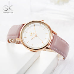 Shengke Simple Minimalist Design Genuine Leather Quartz Women's Watch