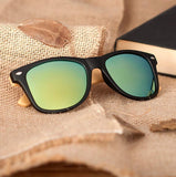 BOBO BIRD Bamboo Sunglasses with Mirrored Polarised Lens, Black Frame and Wooden Gift Box