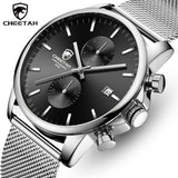CHEETAH Relogio Masculino Branded Mens Watch - Leather or Stainless Steel - Quartz Chronograph with Water Resistance