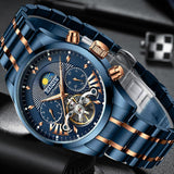 HAIQIN Official HQ-8509 Luxury Stainless Steel Mechanical Tourbillon Chronograph Men's Watch - Automatic Self-Wind and Butterfly Buckle