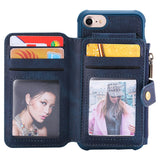 HAISSKY Double Flip Zipper Wallet Case for iPhone 6, 6 Plus, 6S, 6S Plus, 7, 7 Plus, 8, 8 Plus, X, XR, XS, XS Max, 11, 11 Pro, 11 Pro Max, SE 2020