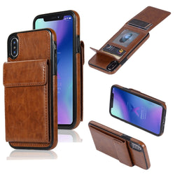 HAISSKY Vertical Magnetic Double Flip Wallet Leather Case for iPhone 5, 5S, 5C, SE, 6, 6 Plus, 6S, 6S Plus, 7, 7 Plus, 8, 8 Plus, X, XR, XS, XS Max, Samsung Galaxy S7, S7 Edge, S8, S8 Plus, S9, S9 Plus, Note 8, Note 9