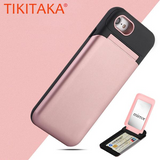 TikiTaka Hidden Card Holder and Mirror Flip Case For iPhone 6, 6 Plus, 6S, 6S Plus, 7, 7 Plus, 8, 8 Plus, X