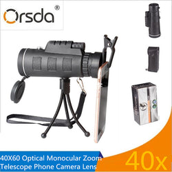 Orsda Universal Mobile Phone 40X Optical Zoom Telescope Lens Clip-on Accessory