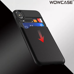 WOWCASE Premium Hidden Bank Card Storage Case For iPhone X, XR, XS, XS Max