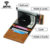 New RFID Blocking Leather Wallet with Aluminium Metal Anti-RFID Protective Case Box