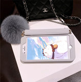 LOVECOM Luxury Purse Case with Fluffy Pom Pom Ball for iPhone 6, 6 Plus, 6S, 6S Plus, 7, 7 Plus, 8, 8 Plus, X, XR, XS, XS Max, 11, 11 Pro, 11 Pro Max, SE 2020, 12 Mini, 12, 12 Pro, 12 Pro Max