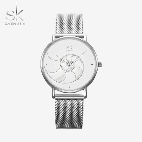 Shengke Pearl Design Stainless Steel Quartz Womens Watch - 2 colours available