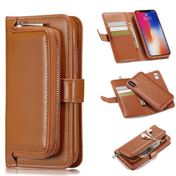 Vintage Magnetic Leather Flip Wallet Case with Zipper Pocket for iPhone 6, 6 Plus, 6S, 6S Plus, 7, 7 Plus, 8, 8 Plus, X, XR, XS, XS Max, 11, 11 Pro, 11 Pro Max