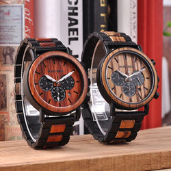 BOBO BIRD Metal and Wood Fusion U-Q26 Watch with Chronograph and Gift Box